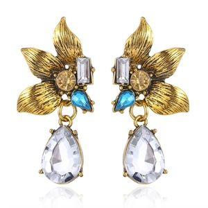 PREVIEW Flower Crystal Vintage Gold Drop Earrings